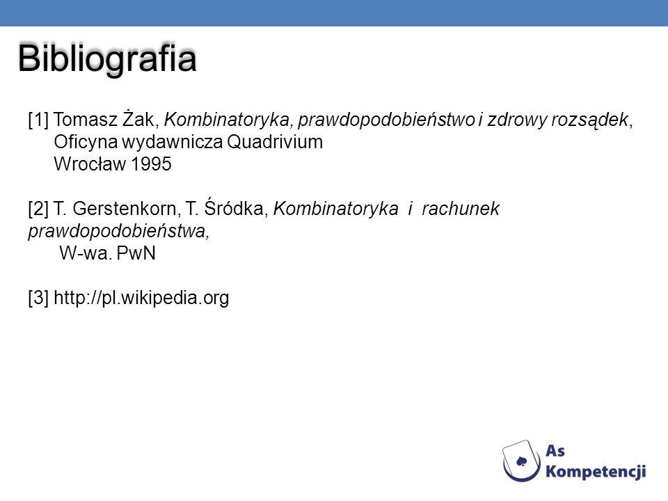 Bibliografia [1] Tomasz Żak, Kombinatoryka, prawdopodobieństwo i zdrowy rozsądek, Oficyna wydawnicza Quadrivium.